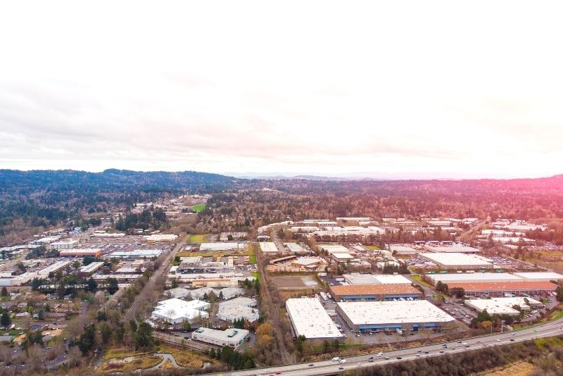Aerial view of downtown Beaverton Oregon, living in portland vs beaverton oregon (1)
