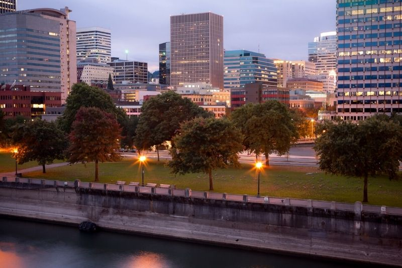 Downtown Portland Oregon at dusk, Should I move to Portland Oregon