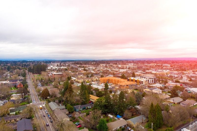 aerial view of Beaverton OR, Top 5 Best Areas to live in Portland Oregon