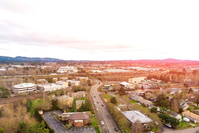 aerial view of Beaverton Oregon suburb, Best Suburbs in Portland Oregon pins (1)