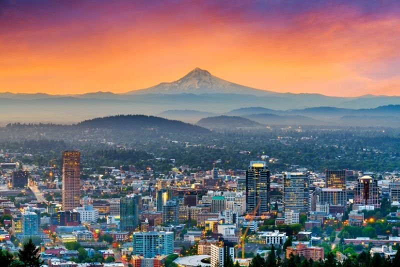 aerial view of Portland Oregon with Mt Hood, How to make $100,000year investing in real estate in Portland Oregon