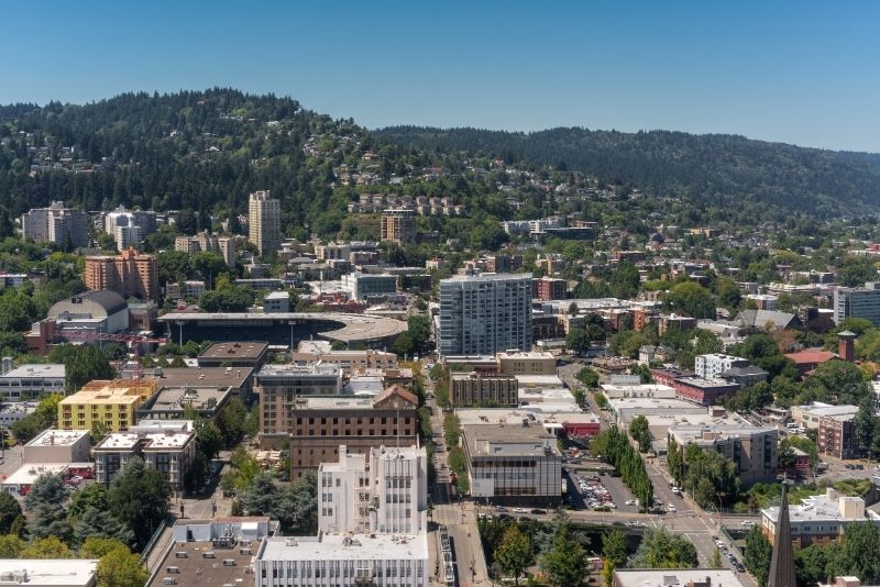 aerial view of an area of downtown Portland Oregon, Most Asked Questions about Moving to Portland Oregon