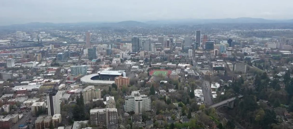 drone image above Portland Oregon, best neighborhoods for families in Portland