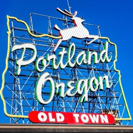 learn about Portland OR sign