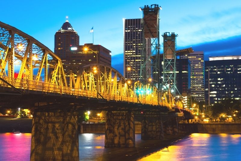 main Portland Oregon bridge to downtown PDX at night, How much does it cost to live in Portland Oregon