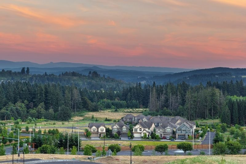 view of Happy Valley Oregon at sunset, Top 5 Best Areas to live in Portland Oregon