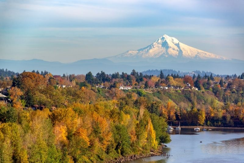 view of Mt Hood in the fall with Portland neighborhood, How much does it cost to live in Portland Oregon