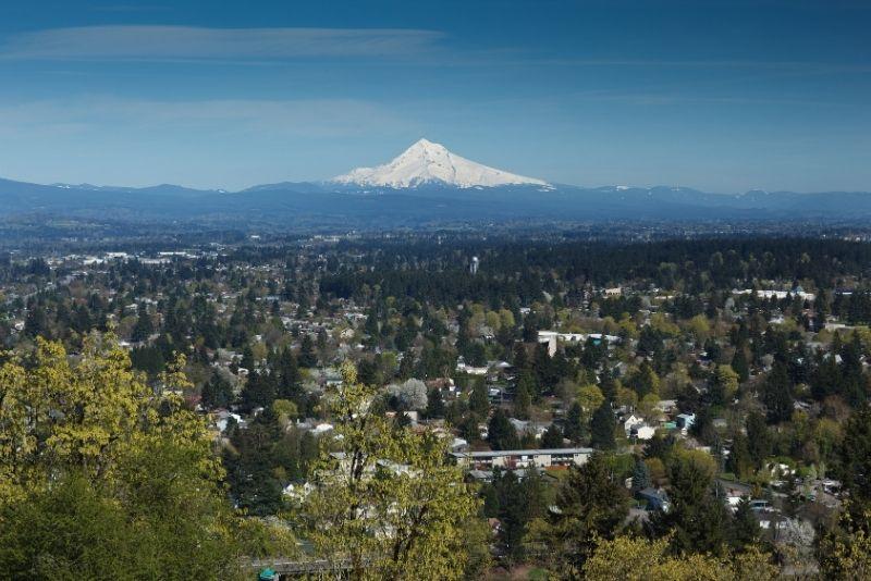 view of Northeast Portland Oregon with Mount Hood in background, Neighborhoods of Northeast Portland Oregon