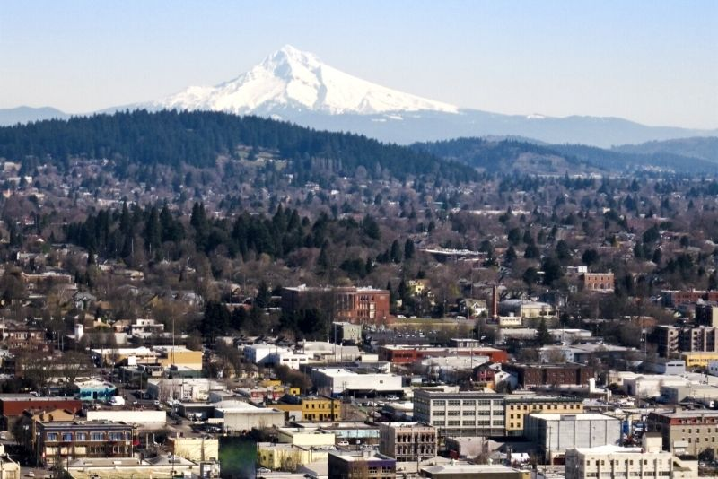 view of Portland and Mt Hood, Top 5 Relocation Tips for Moving to Portland Oregon